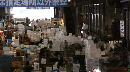Footage of Tsukiji Fish Market district in Tokyo, Japan -pan left-