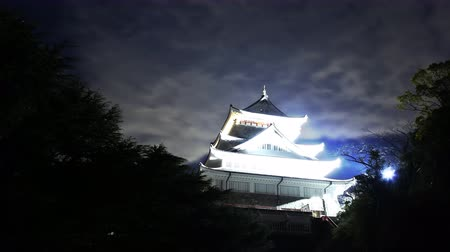 4K Astrophotography time lapse footage with pan right motion of historic Japanese Castle under the starry sky at night in Atami, Shizuoka, Japan