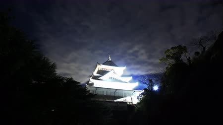 4K Astrophotography time lapse footage with tilt down motion of historic Japanese Castle under the starry sky at night in Atami, Shizuoka, Japan