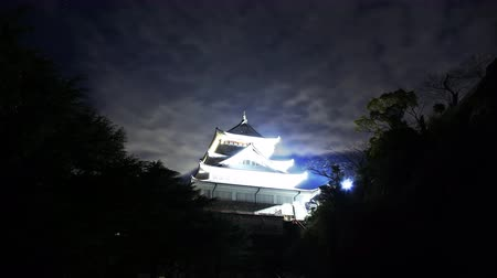 4K Astrophotography time lapse footage of historic Japanese Castle under the starry sky at night in Atami, Shizuoka, Japan Wideo