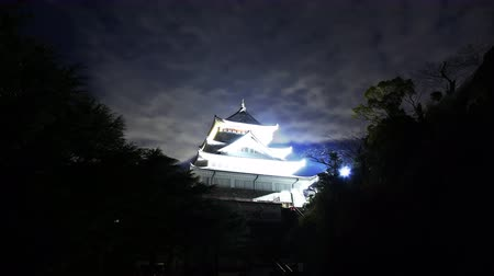 4K Astrophotography time lapse footage with tilt up motion of historic Japanese Castle under the starry sky at night in Atami, Shizuoka, Japan