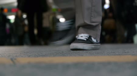 pedestre : Time lapse footage of footsteps of commuters in famous Shibuya crosswalk at rush hour in Tokyo, Japan Vídeos