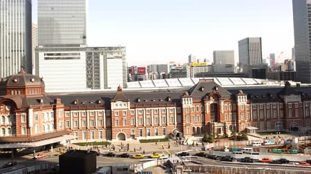 4K Motion controlled pan left time lapse footage with more pan left motion of historic Tokyo Station during the daytime in Japan Wideo