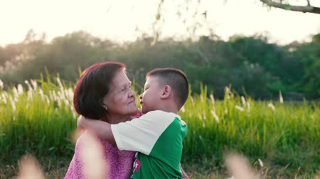 jovial : Happy grandma with grandson embracing outdoor.