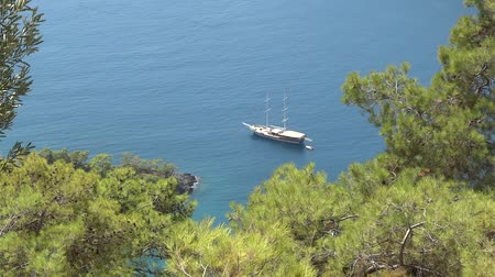 aegean sea : yacht sailing in the mediterranean sea Stock Footage