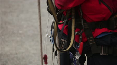 redundancy : Mountaineering gear of the Industrial climber. Close up Stock Footage