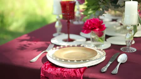 setting : Wedding table decor in nature with candles, close-up. Steadicam shot Stock Footage