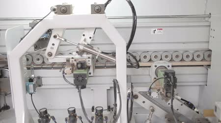factor : Modern woodworking machine at the woodworking and furniture plant