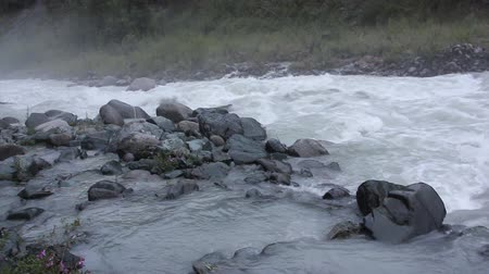 raging : Rushing Akkem River in the morning among Altai Mountains, Russia