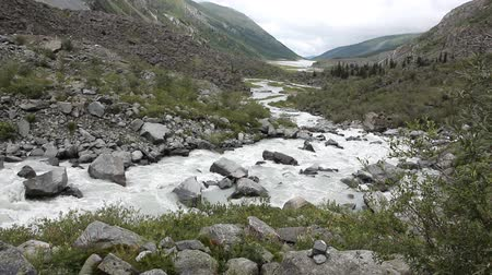 furioso : Rushing Akkem River flowing over stones among the Altai mountains, Russia Stock Footage