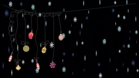 2D Christmas window decoration Animation 4K on black background. Xmas baubles and snowflakes animated.