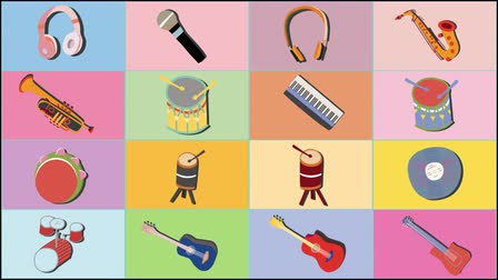 Animated 2D background clip motion with musical instruments. Hand drawn musical instrument icons 4K video.