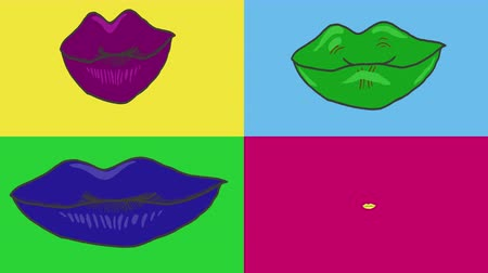 Popular art 2d rendering of sensual bright lips animation. Four pairs of sensual lips.