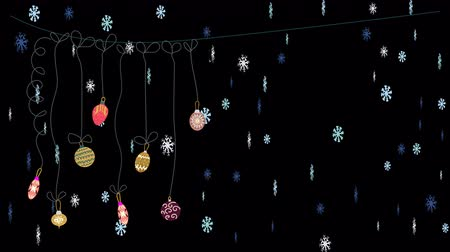 Christmas balls drop and snowflakes rotating. Festive decoration on transparent background.
