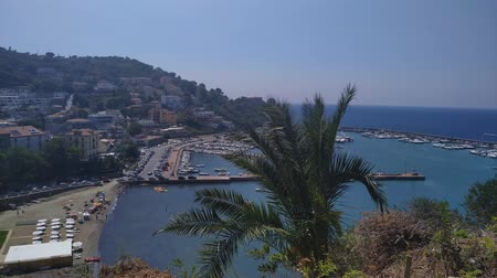 rotational : Harbour town on south Italy. Waterfront seaside town top view footage. Stock Footage