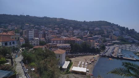 pan shot : Harbour town Agropoli on south Italy. Waterfront seaside town top view footage.