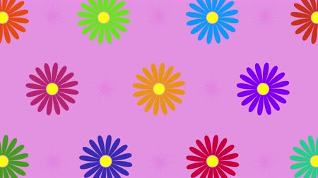 periódico : Abstract rotating flowers and spherical sparkles on the pink background with seamless loop. 4K animation