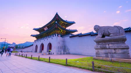 gyeongbok : Time lapse Korea,Sunset of Gyeongbokgung palace in Seoul, South Korea.
