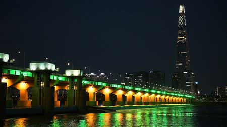 han river : Seoul City and Lotte Tower ,South Korea.