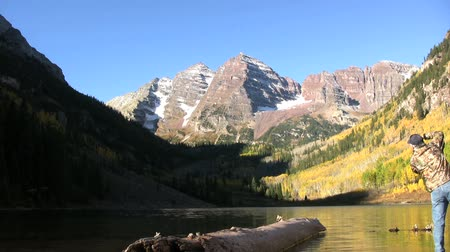 natura : Sunrise at Maroon Bells in Fall Wideo