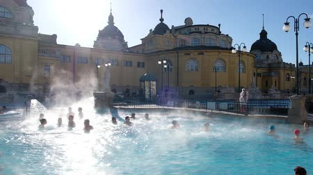 BUDAPEST, HUNGARY- JANUARY,2019: Courtyard of Szechenyi Baths, Hungarian thermal bath complex and spa treatments.