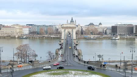 Panoramic view of Danube River and Széchenyi Lánchíd, Budapest, Hungary