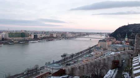 Panoramic view of Danube River and Citadella from Budai Var, Budapest, Hungary Wideo