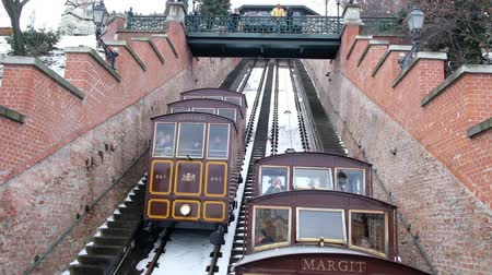 BUDAPEST, HUNGARY - 18 JANUARY, 2019: The Budapest Castle Hill Funicular in winter in Budapest, Hungary