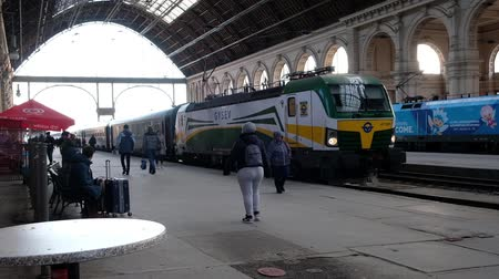 BUDAPEST, HUNGARY- JANUARY,2019: People at railway station going to the train Vídeos