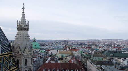 VIENNA, AUSTRIA - JANUARY 21, 2019 : Panoramic view from the top of St.Stephans Cathedral in Vienna. Stephansdom, Wien.