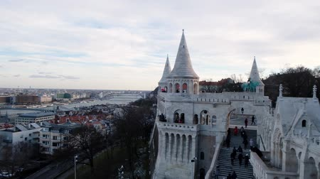 BUDAPEST, HUNGARY- JANUARY,2019: panoramic view from the famous Buda Castle Royal Palace at sunset