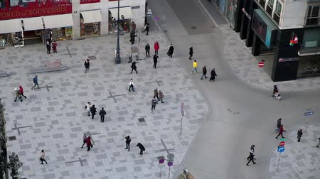 VIENNA, AUSTRIA - JANUARY 21, 2019 : View from the top of St.Stephans Cathedral. People going across the square