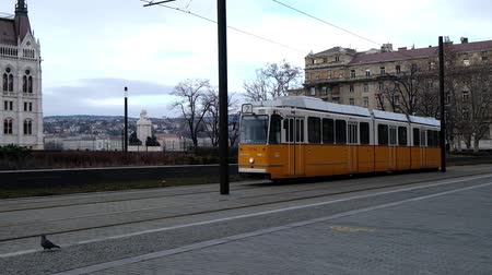 BUDAPEST, HUNGARY- JANUARY,2019: Famous tramway number two in Budapest going at parliament