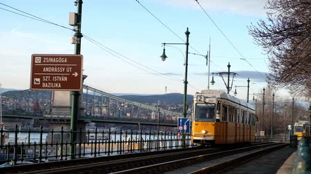 BUDAPEST, HUNGARY- JANUARY,2019: Famous tramway number two in Budapest going along Danube River