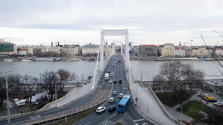 BUDAPEST, HUNGARY- JANUARY,2019: View to danube river and Erzsebet hid, beautiful bridge