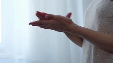 Hand Skin Care. Close Up Of Female Hands Applying Cream, Lotion. Beauty And Body Care Concept Vídeos