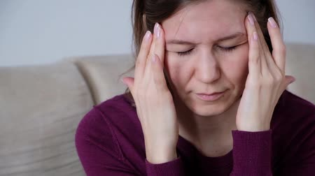 Health And Pain. Stressed Exhausted Young Woman Having Strong Tension Headache. Стоковые видеозаписи