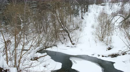 River running through the winter forest, beautiful winter landscape