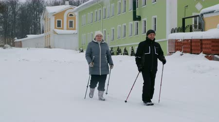 Winter sport in Finland - nordic walking. Senior woman and man hiking in cold forest. Active people outdoors.