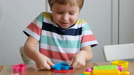 молдинг : Lovely 4 years boy with playdough at home