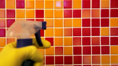 temizleme maddesi : Person doing chores in bathroom at home cleaning tiled wall with sprayer and microfiber towel