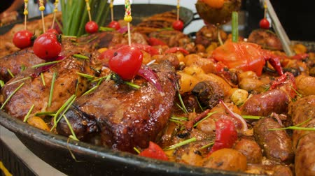 пельмени : street food: meat and sausages with potatoes, tomatoes and mushrooms