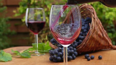 grape basket : Wine from the bottle is poured into a glass on a background of a basket of ripe grapes on a wooden table. Stock Footage