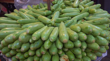 eggplant : Zucchini on a beautifully decomposed showcase in the vegetable market