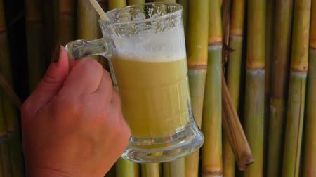 sweetener : Sugar cane juice from stems in a transparent mug with a straw Stock Footage