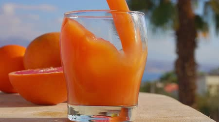 segmento : Grapefruit juice is poured into a glass against the background of the sunny sea landscape, close-up camera motion