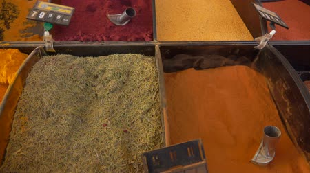 curcuma : Different types of spices on a beautifully decomposed showcase in the vegetable market