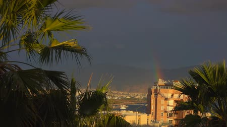 local : Amazing view on rainbow on the Israeli city Eilat, coastline and sky in the summer. Stock Footage