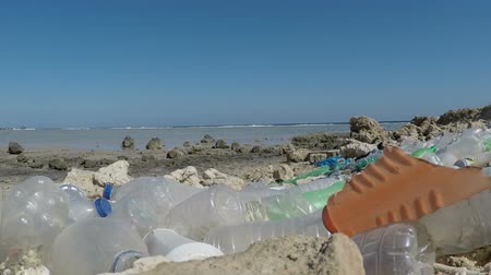 oceanos : Plastic trash lies on the Sea Surf line. Pollution of the oceans.