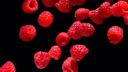malina : Slow motion of red juicy raspberry fly and rotates in the air on a black background